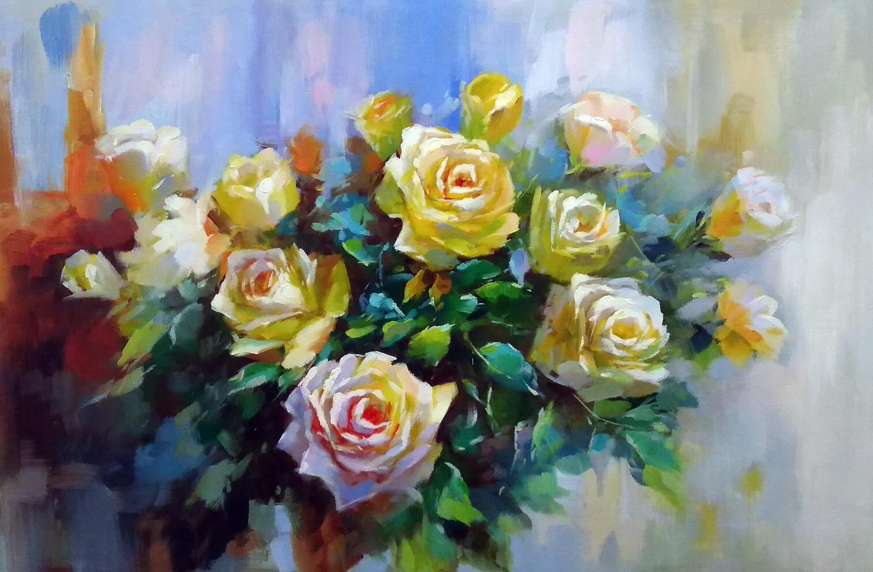 «Чайные розы» Картина 60х90 арт. 9Ц013