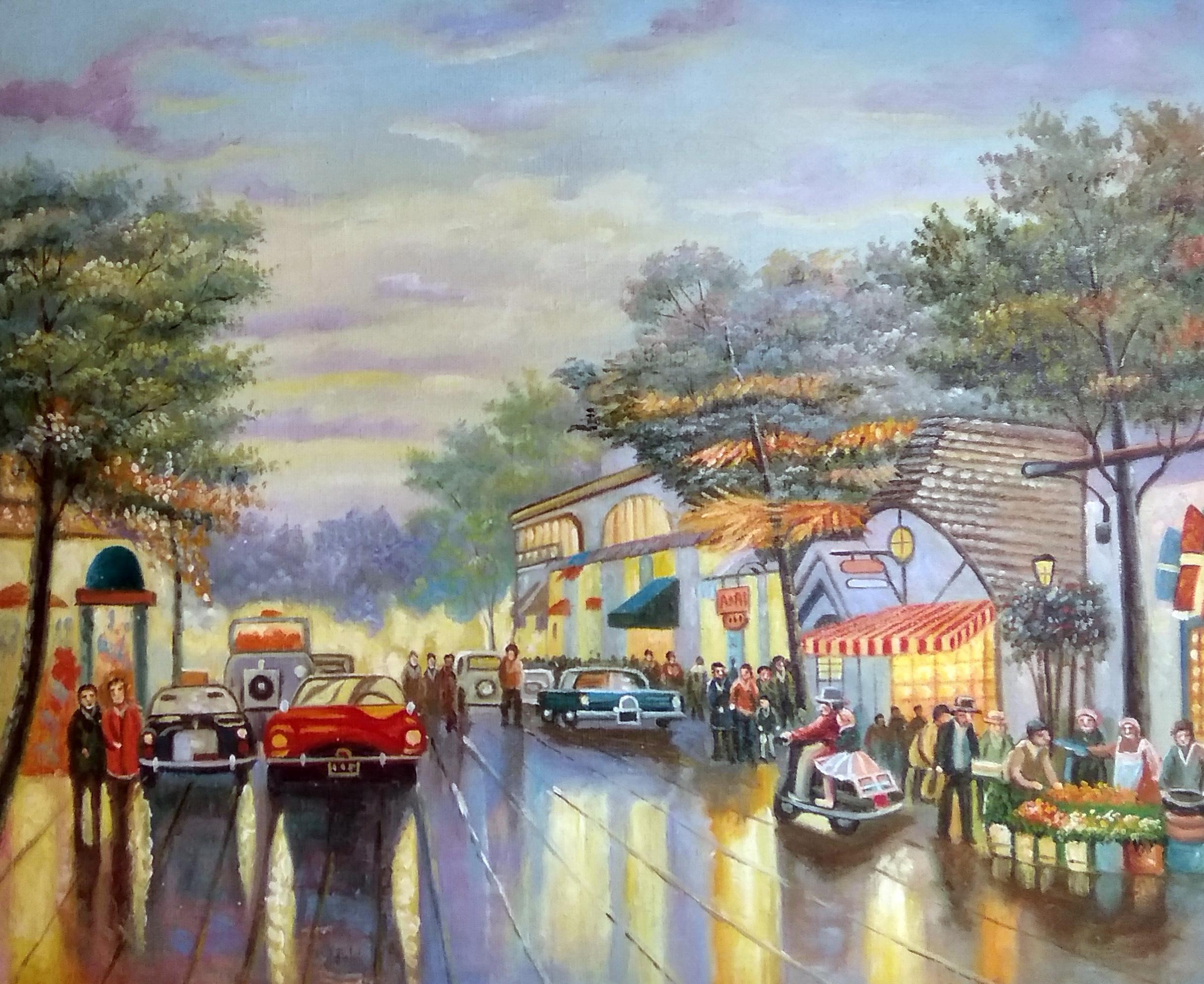 «Вечерняя улица» картина 50х60 арт.5гр274
