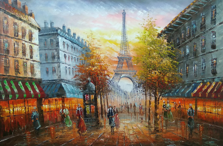 «Вид на Эйфелеву башню» Картина 60х90 арт. 9Гр003