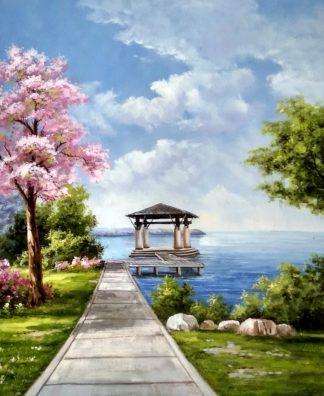 «Пейзаж с сакурой» картина 50х60 арт.5п161