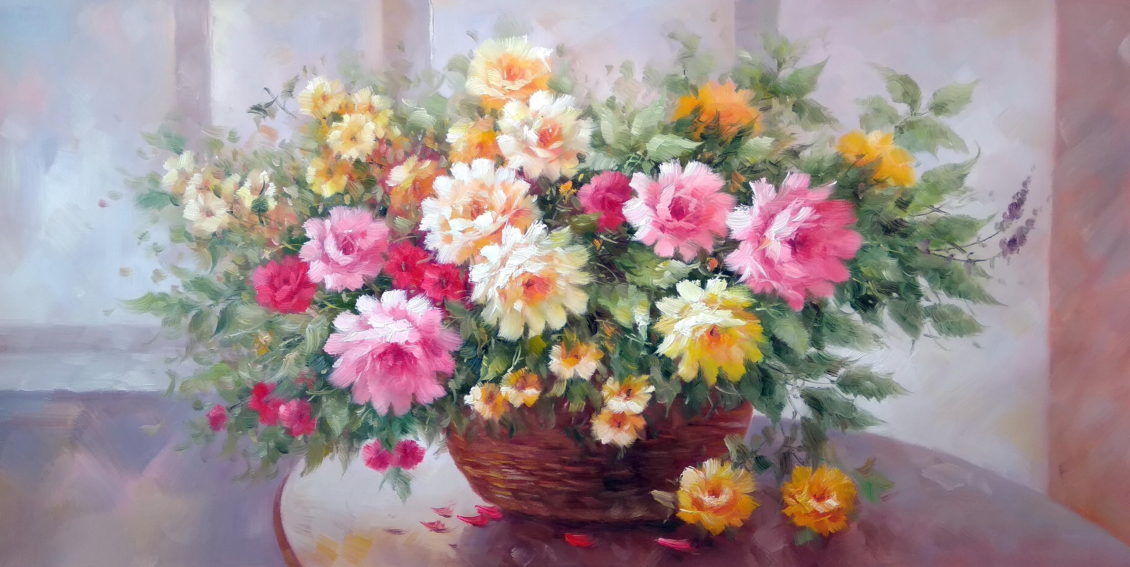 «Розы в корзине» Картина 60х120 арт. Б010