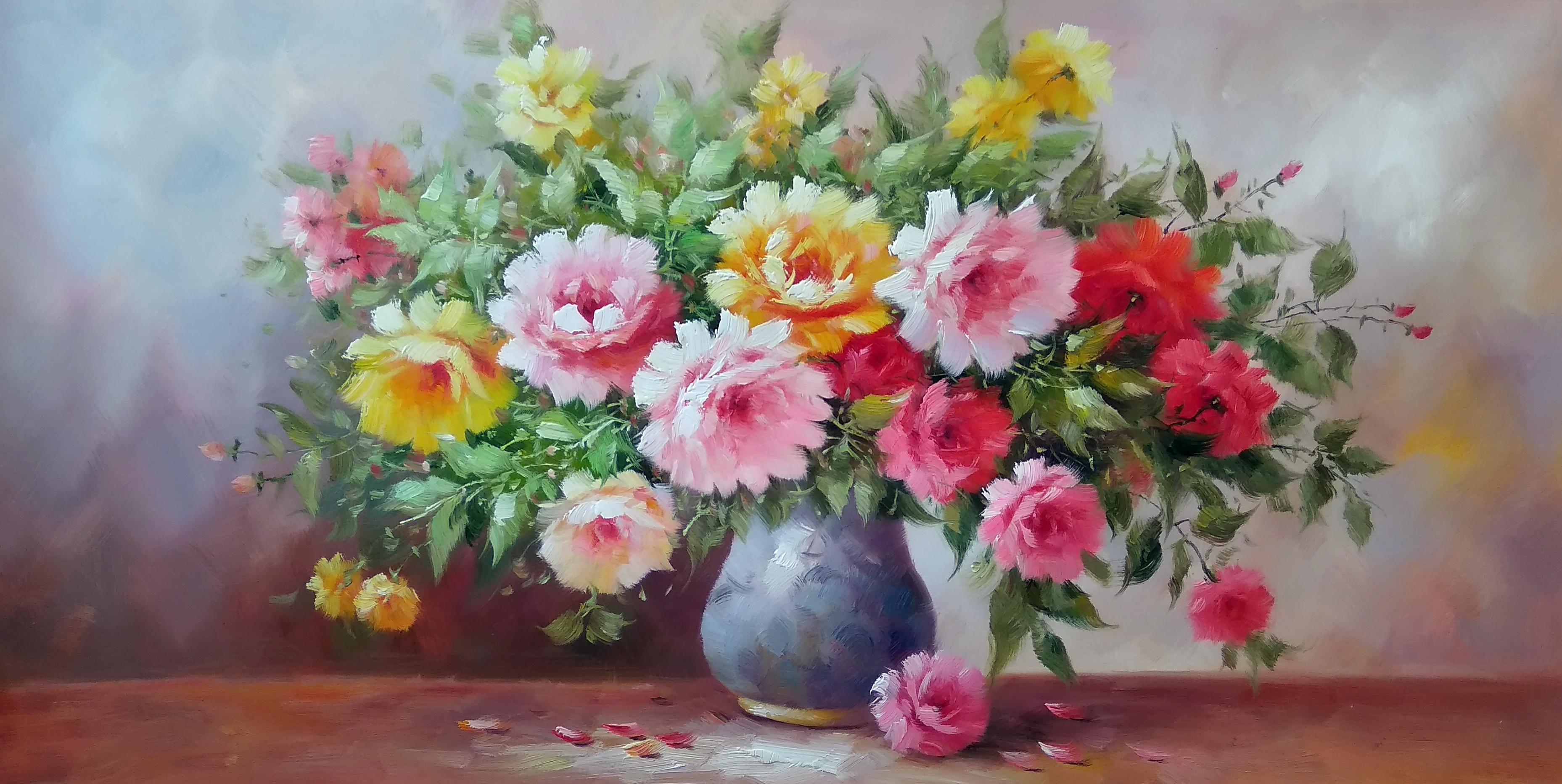 «Розы в вазе» Картина 60х120 арт. Р011