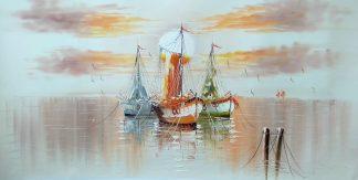 «Лодки в гавани» Картина 60х120 арт. Б013