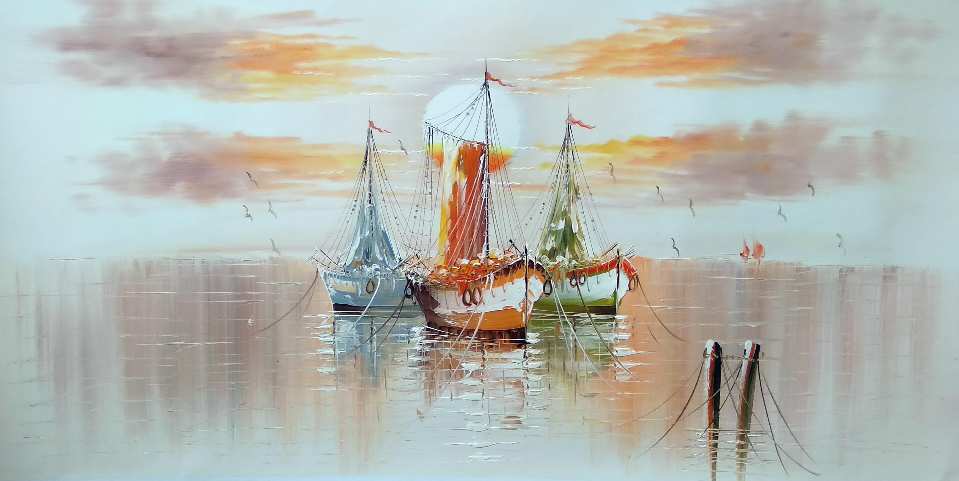«Лодки в гавани» Картина 60х120 арт. Р013