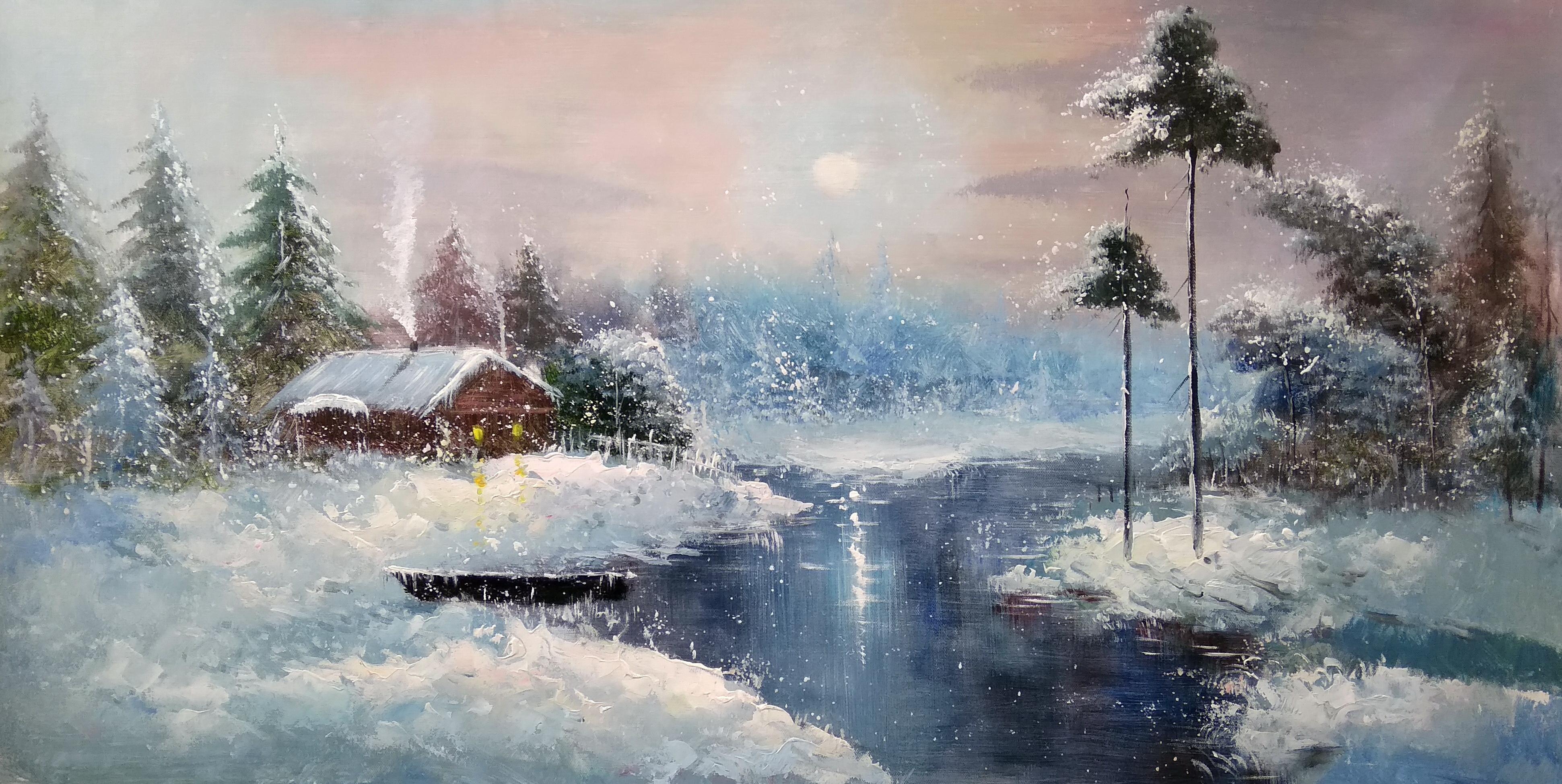 «Домик в лесу» Картина 60х120 арт. Б018