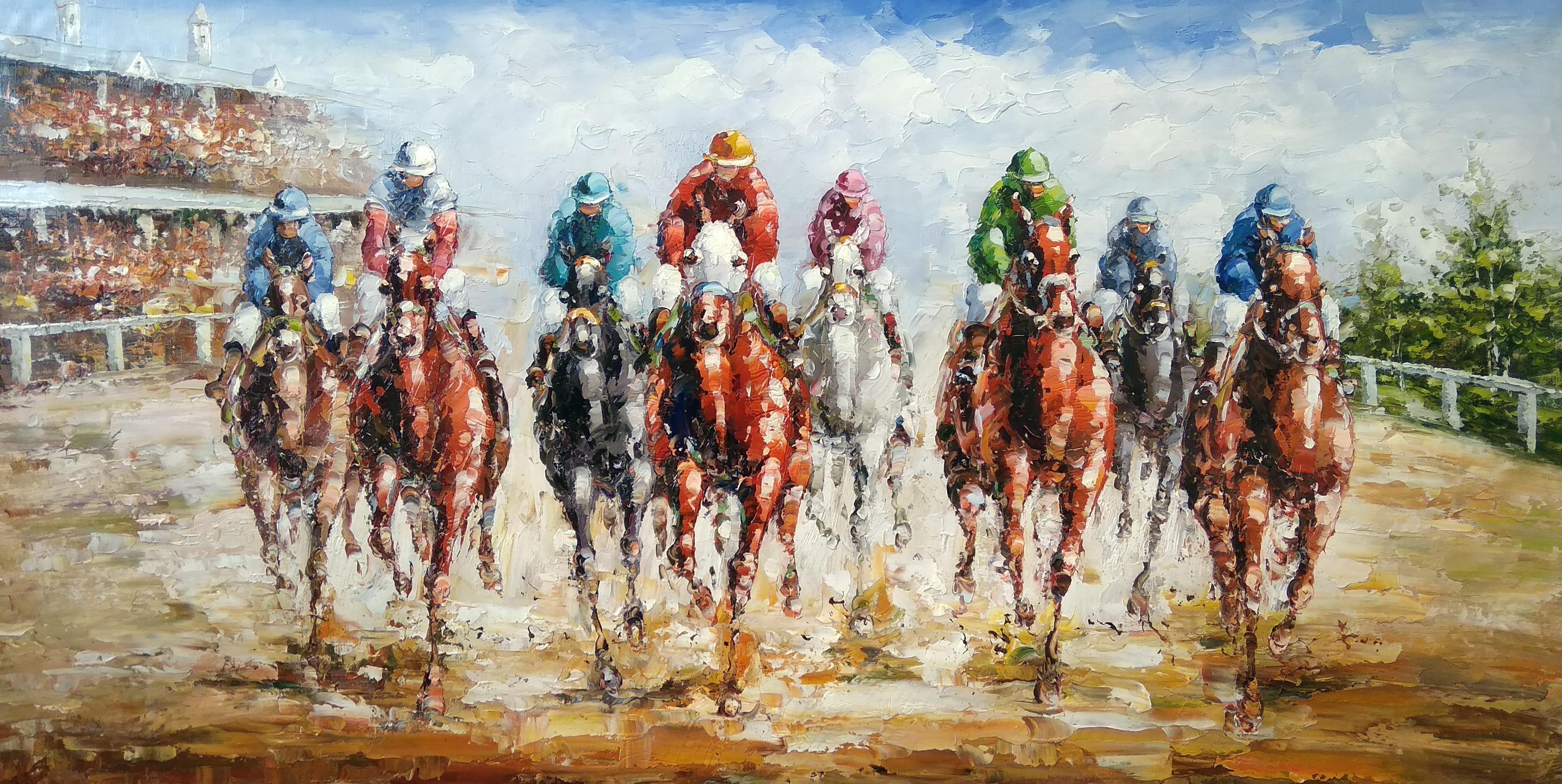 «Скачки» Картина 60х120 арт. Б019
