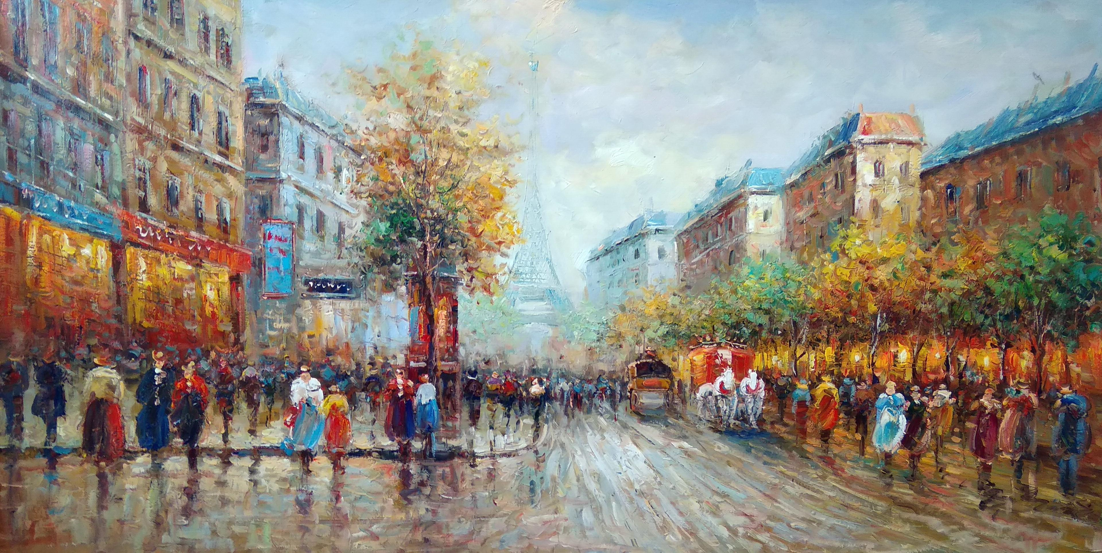 «Вид на Эйфелеву башню» Картина 60х120 арт. Б029