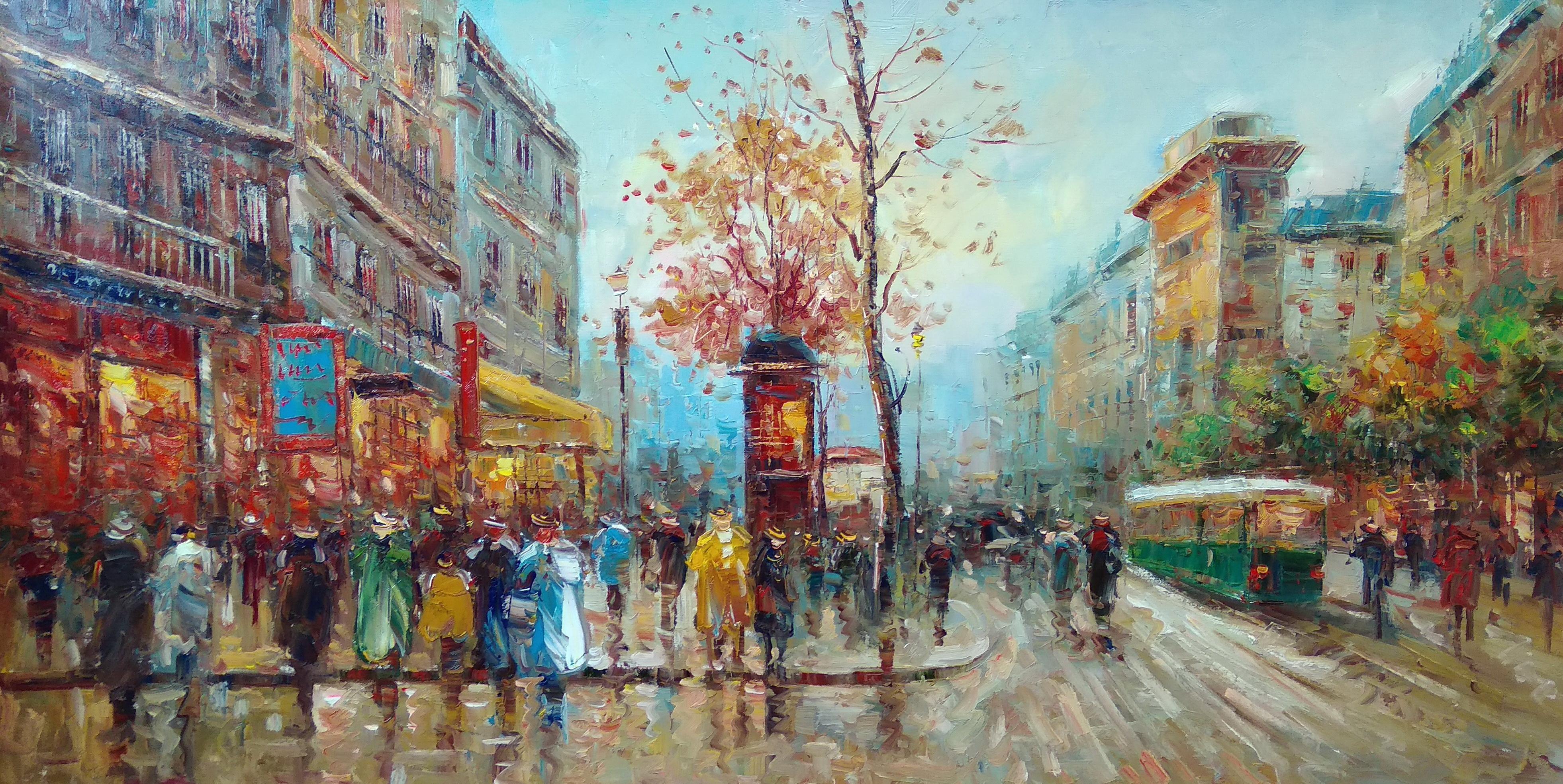 «Парижские улочки» Картина 60х120 арт. Р031