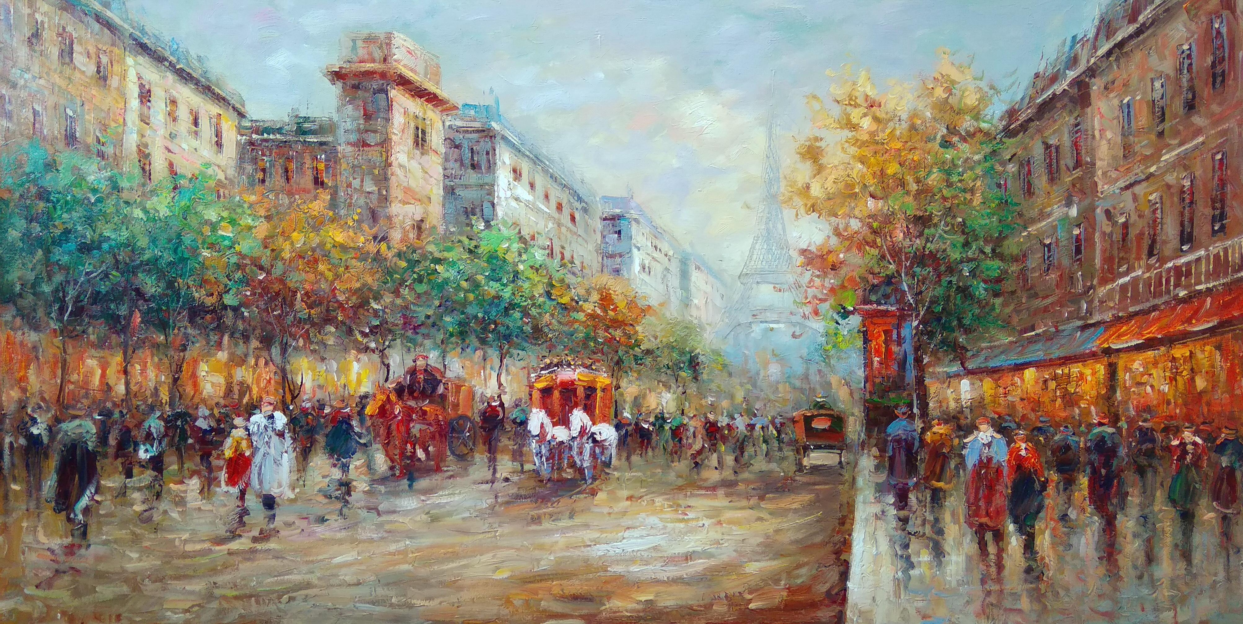 «Вид на Эйфелеву башню» Картина 60х120 арт. Р032
