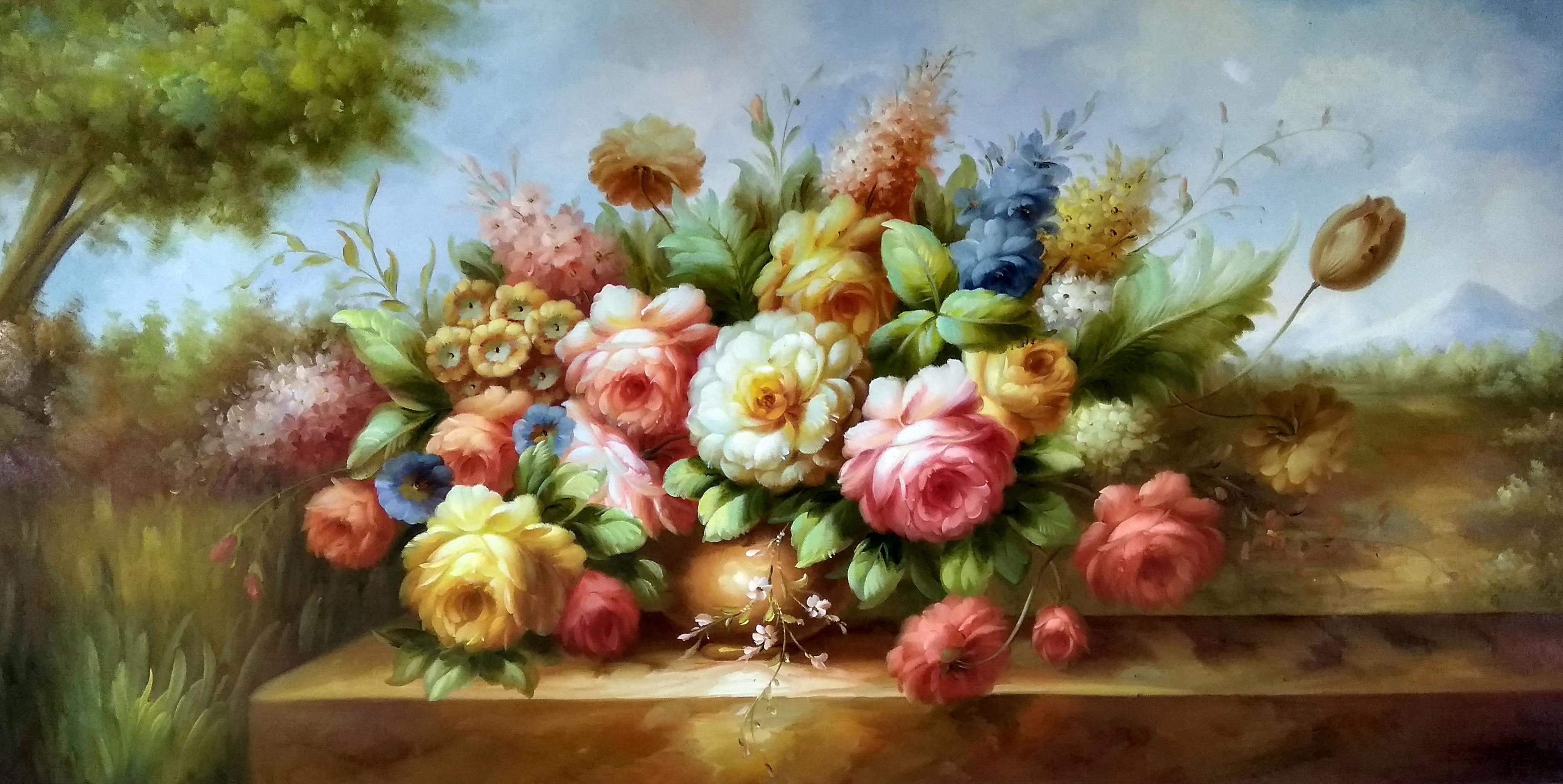 «Нежные пионы на столе» картина 60х120 арт.б037