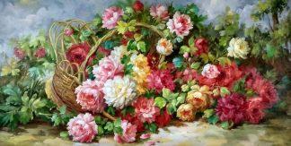 «Корзина с пионами» картина 60х120 арт.б038