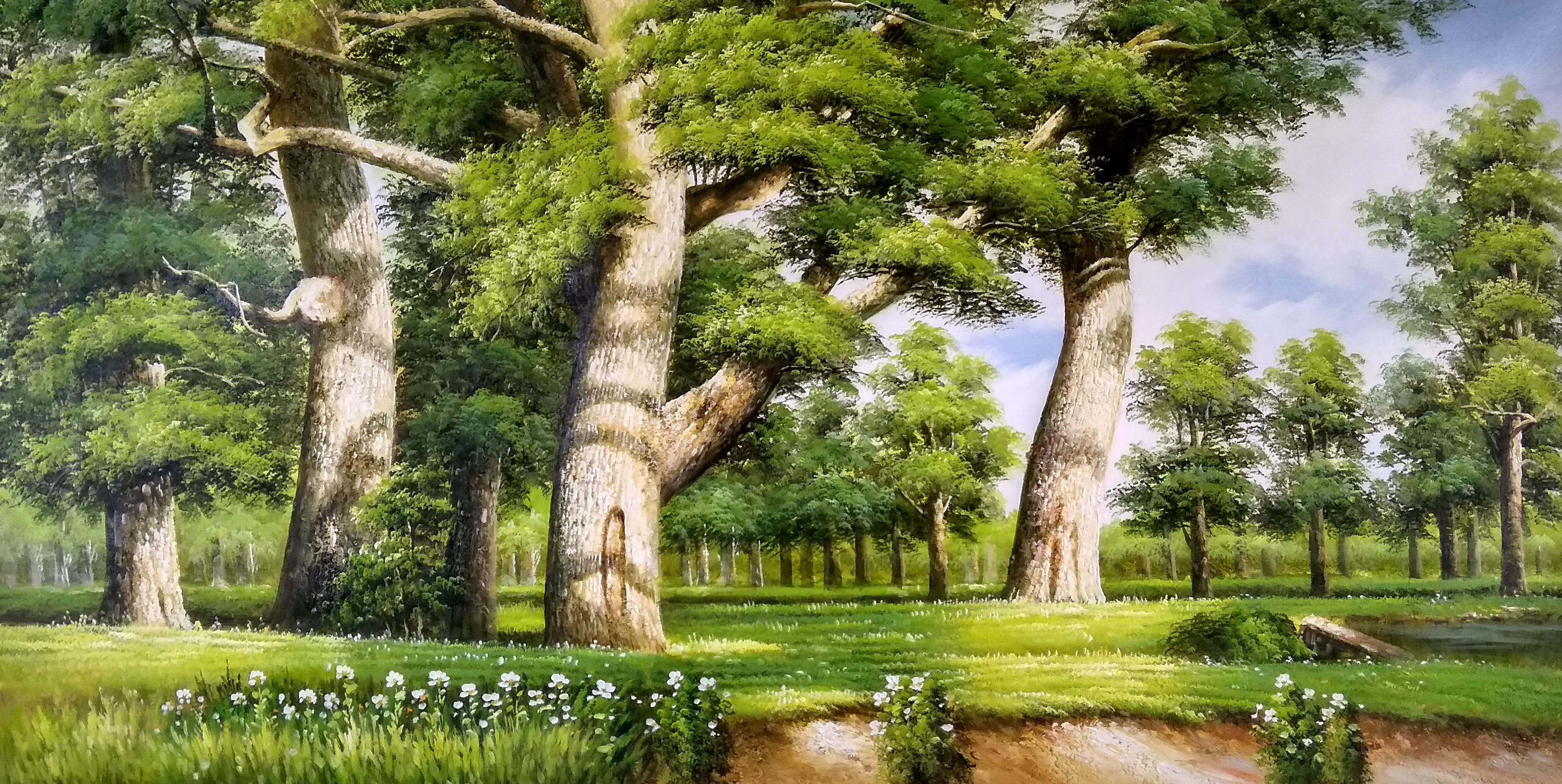 «Зеленая роща» картина 60х120 арт.б039