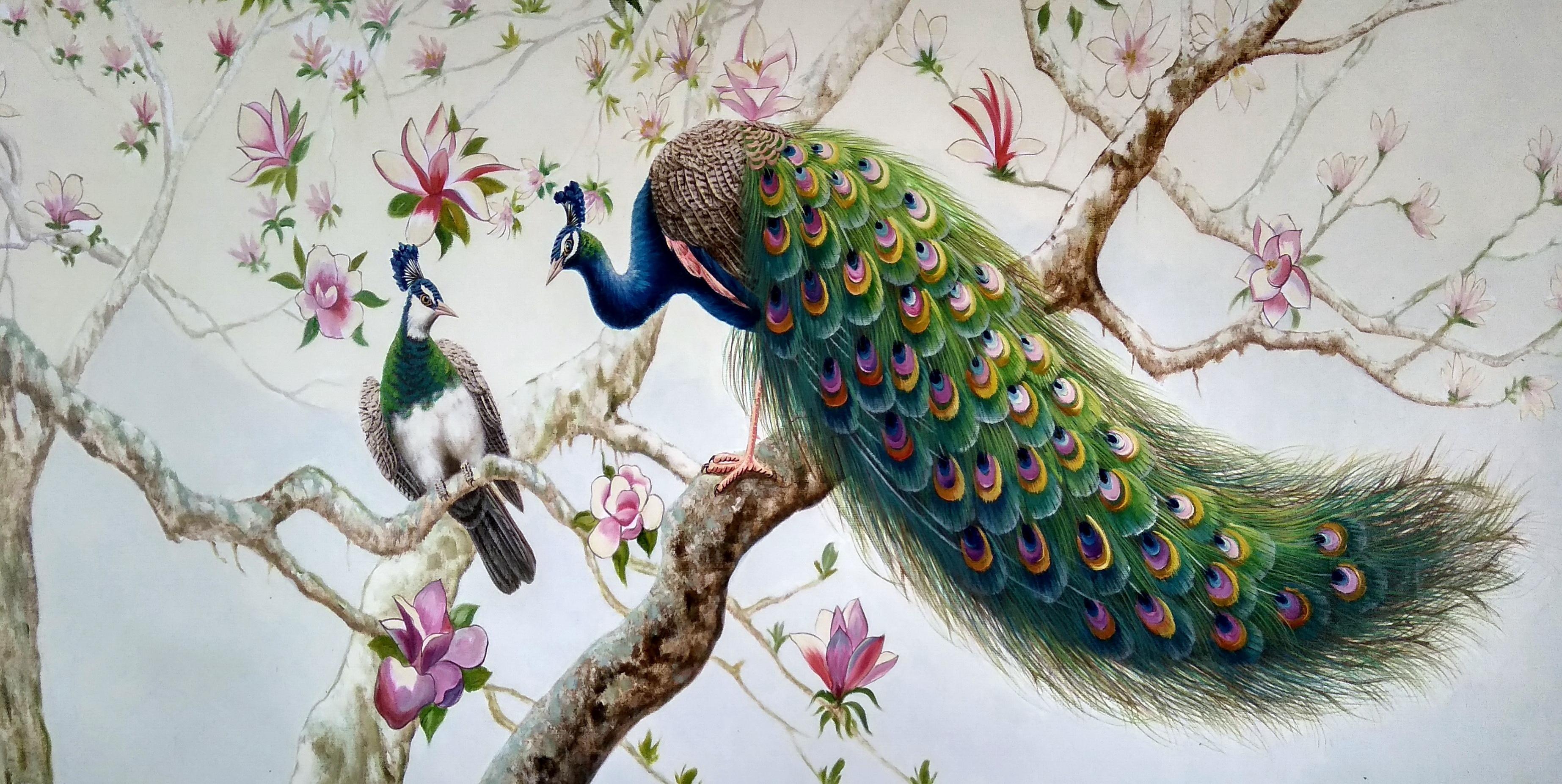 «Павлины и магнолия» картина 60х120 арт.б050