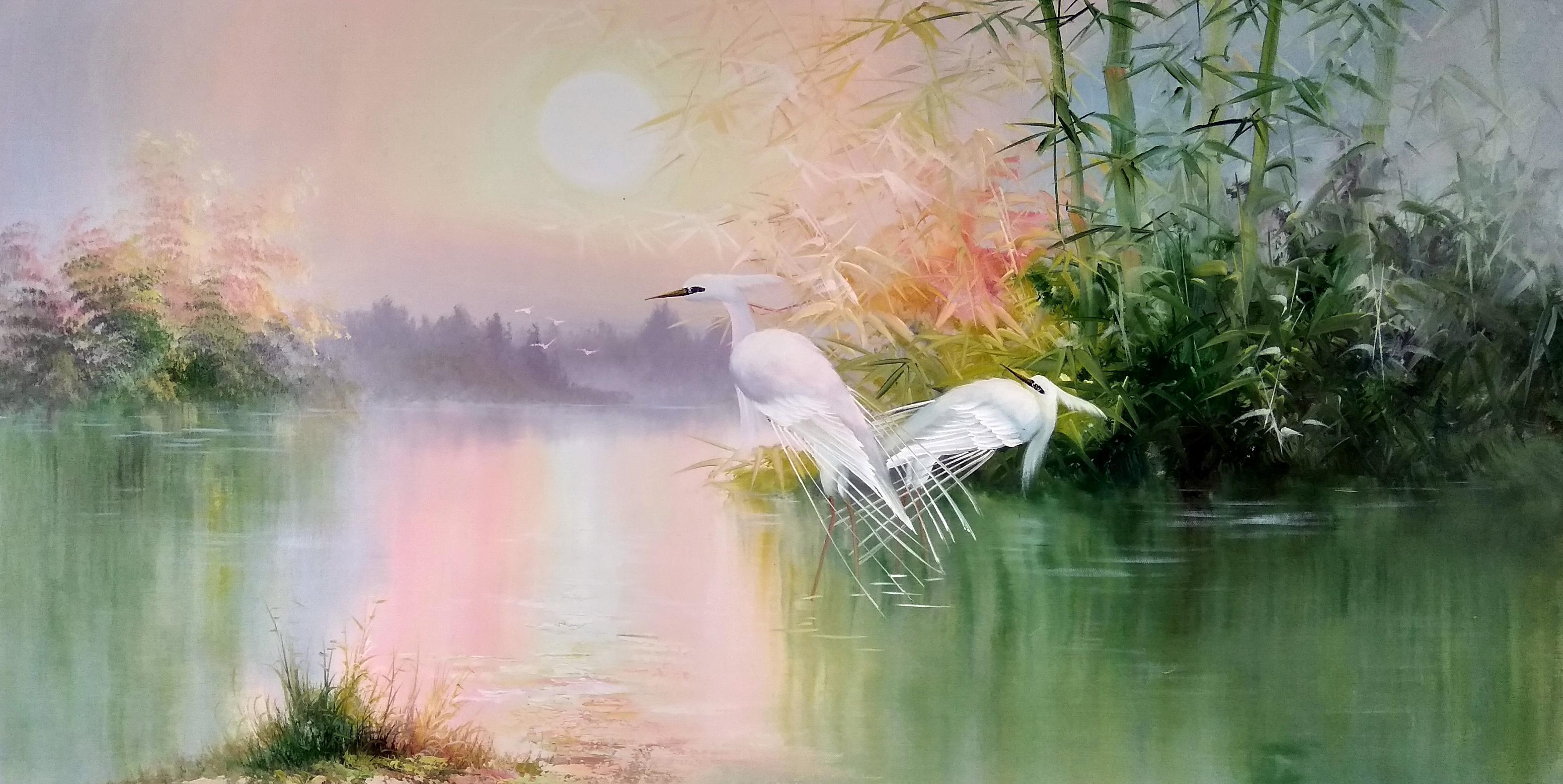 «Белые цапли» картина 60х120 арт.б051