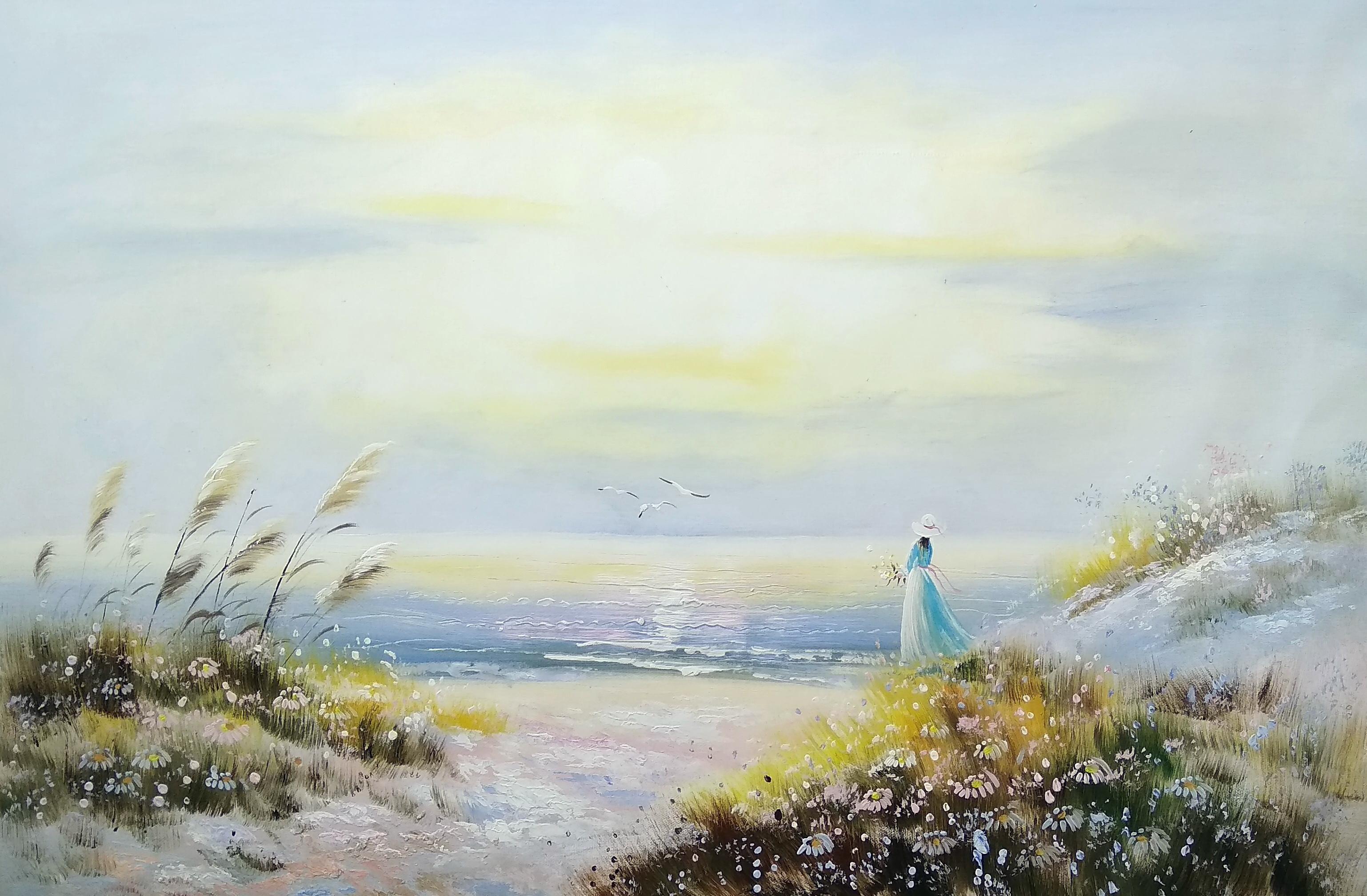 «Девушка у моря» Картина 60х90 арт. 9Р002