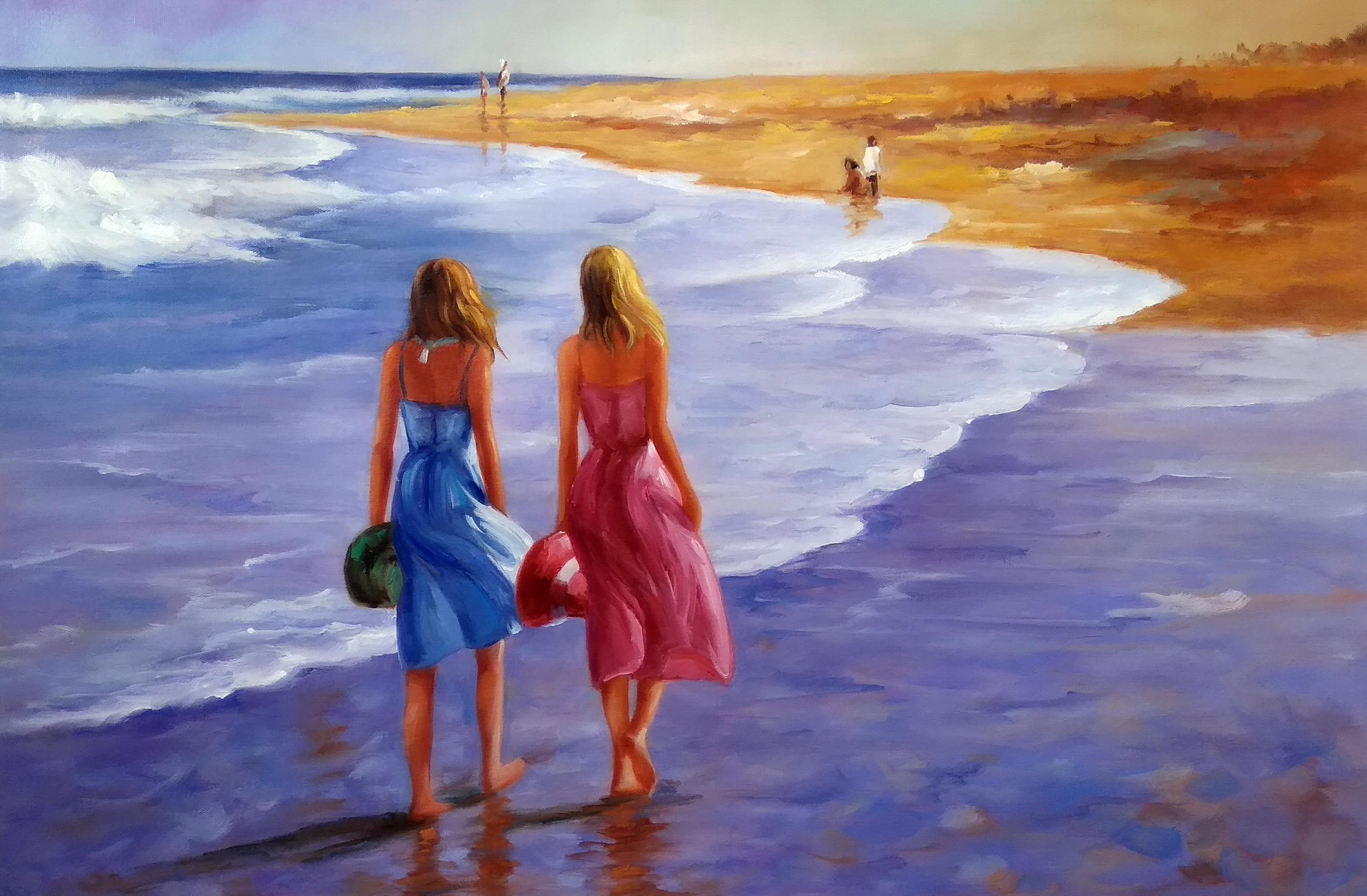 «Пляжная прогулка» Картина 60х90 арт. 9Р004