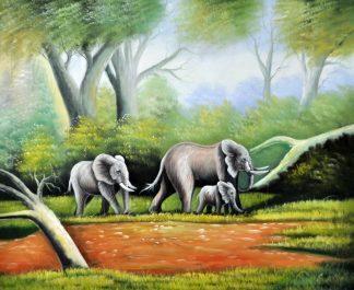 «Семья слонов» картина 50х60 5а123