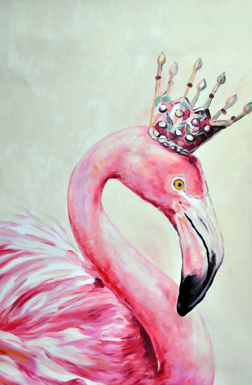 «Королева фламинго » картина 60х90 9а017