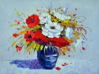 «Цветы в синей вазе» картина 30х40 3ц066