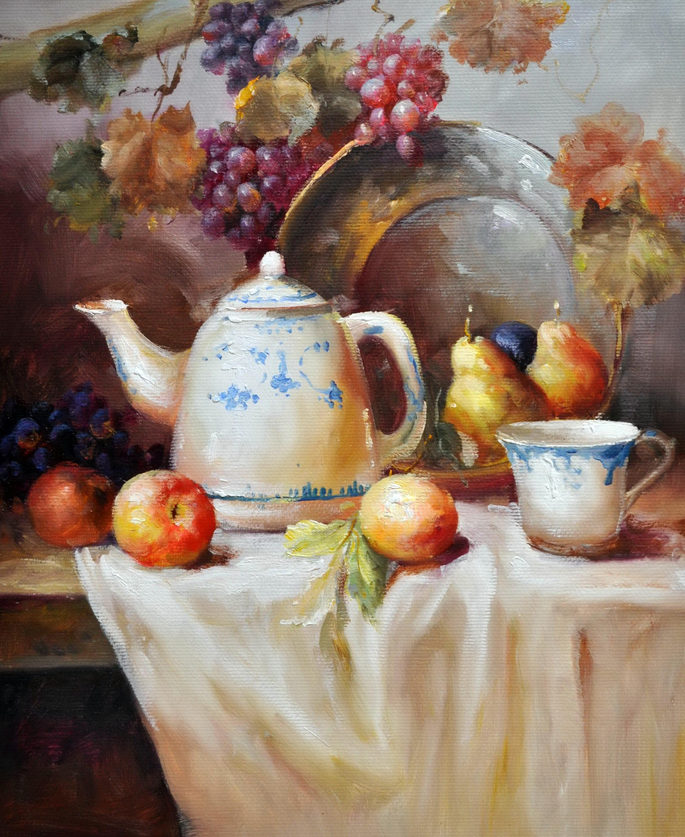 «Натюрморт с фарфором» картина 50х60 5ц310