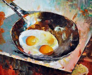 «Натюрморт с яичницей» картина 50х60 5ц312