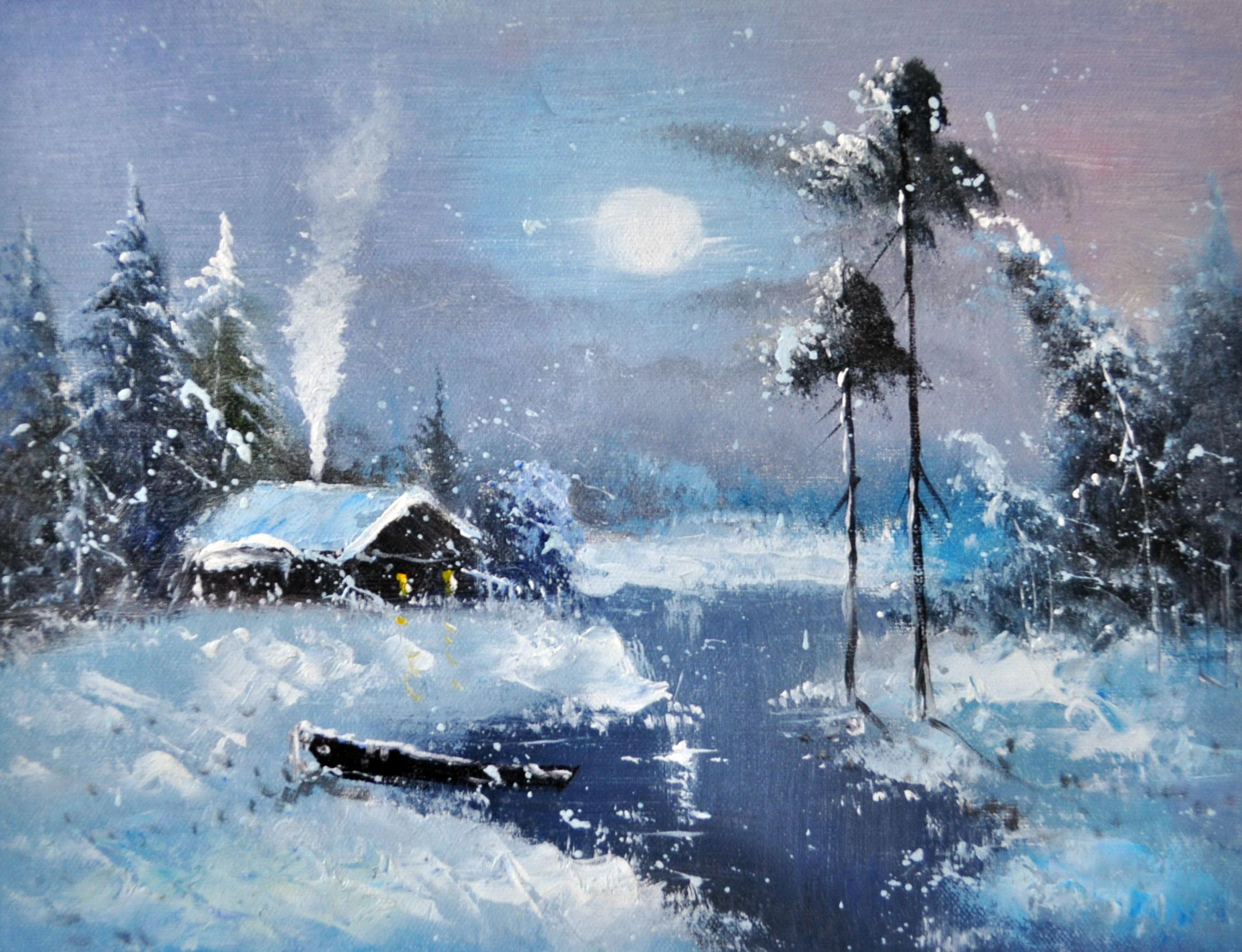 «Домик в зимнем лесу» картина 30х40 3п052