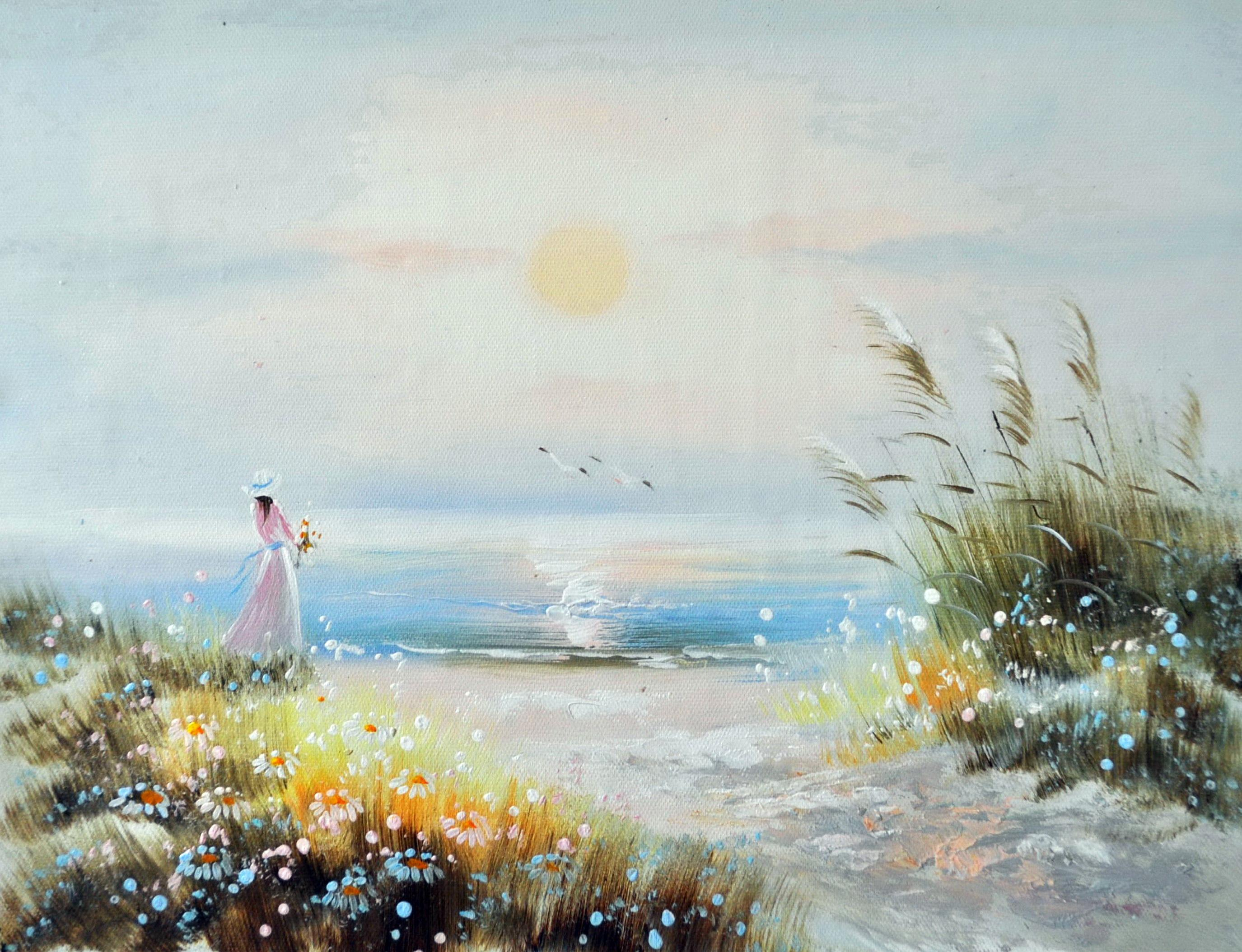 «Девушка у моря» картина 30х40 3р070