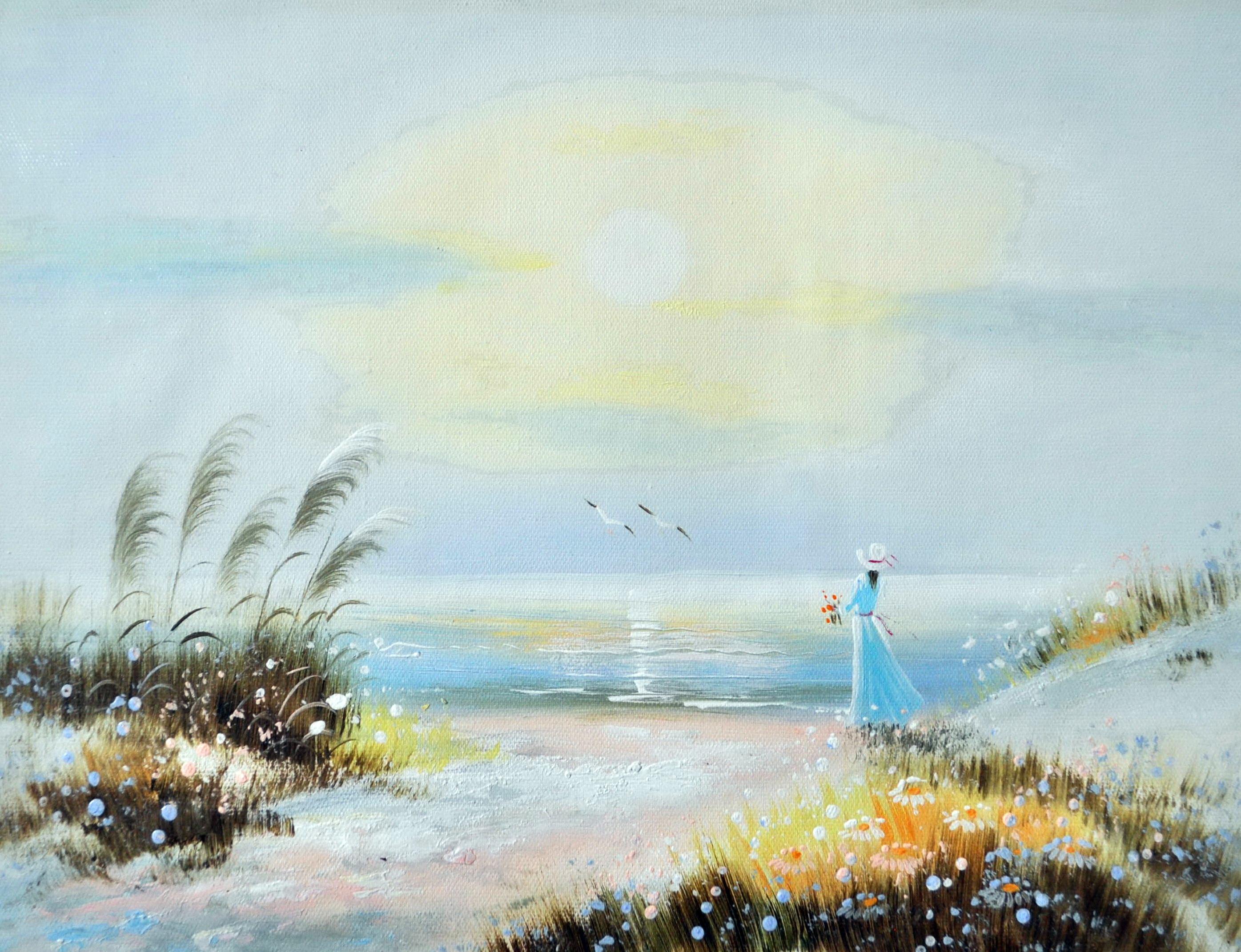 «Девушка у моря» картина 30х40 3р075