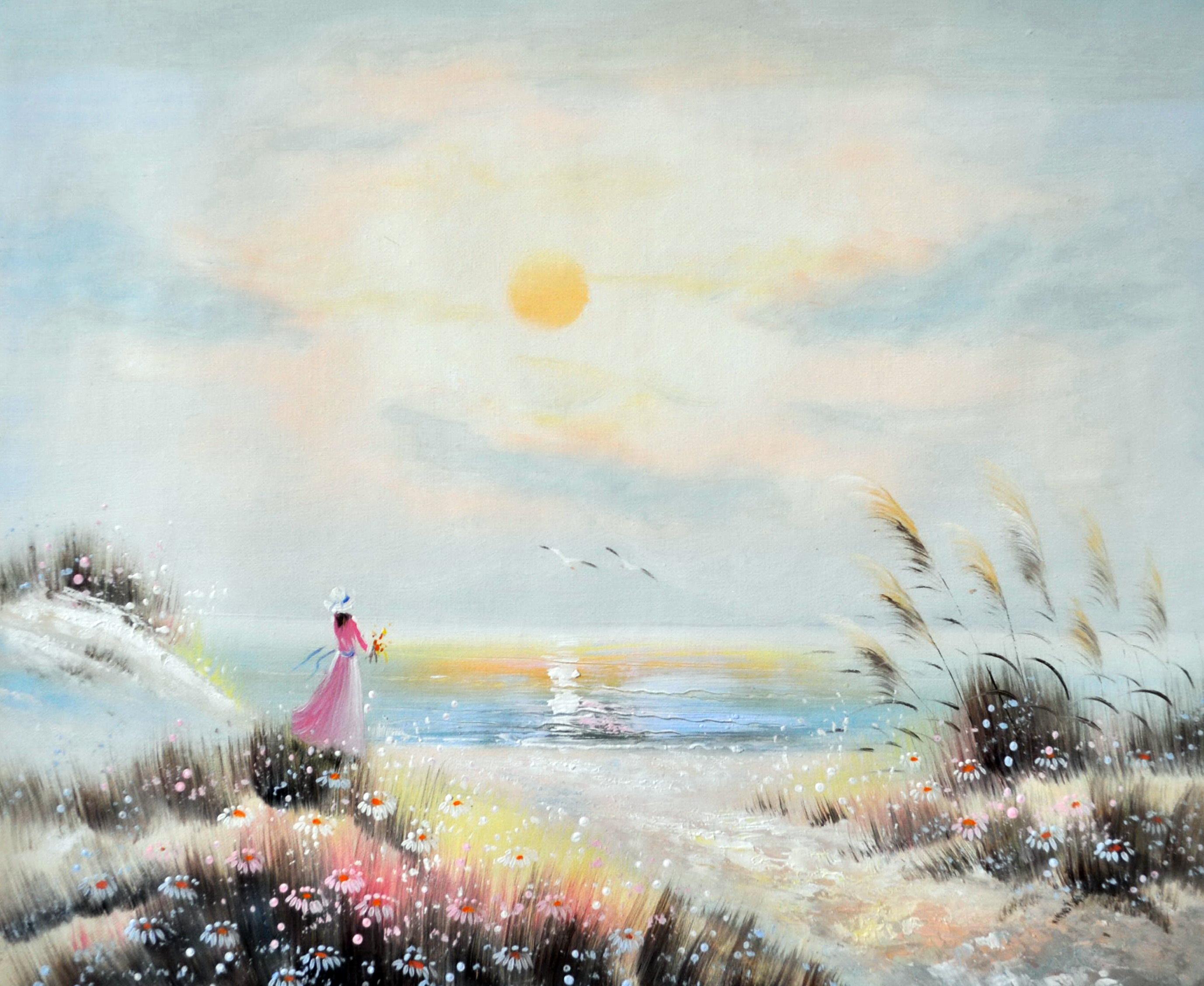 «Девушка у моря» картина 50х60 5р171
