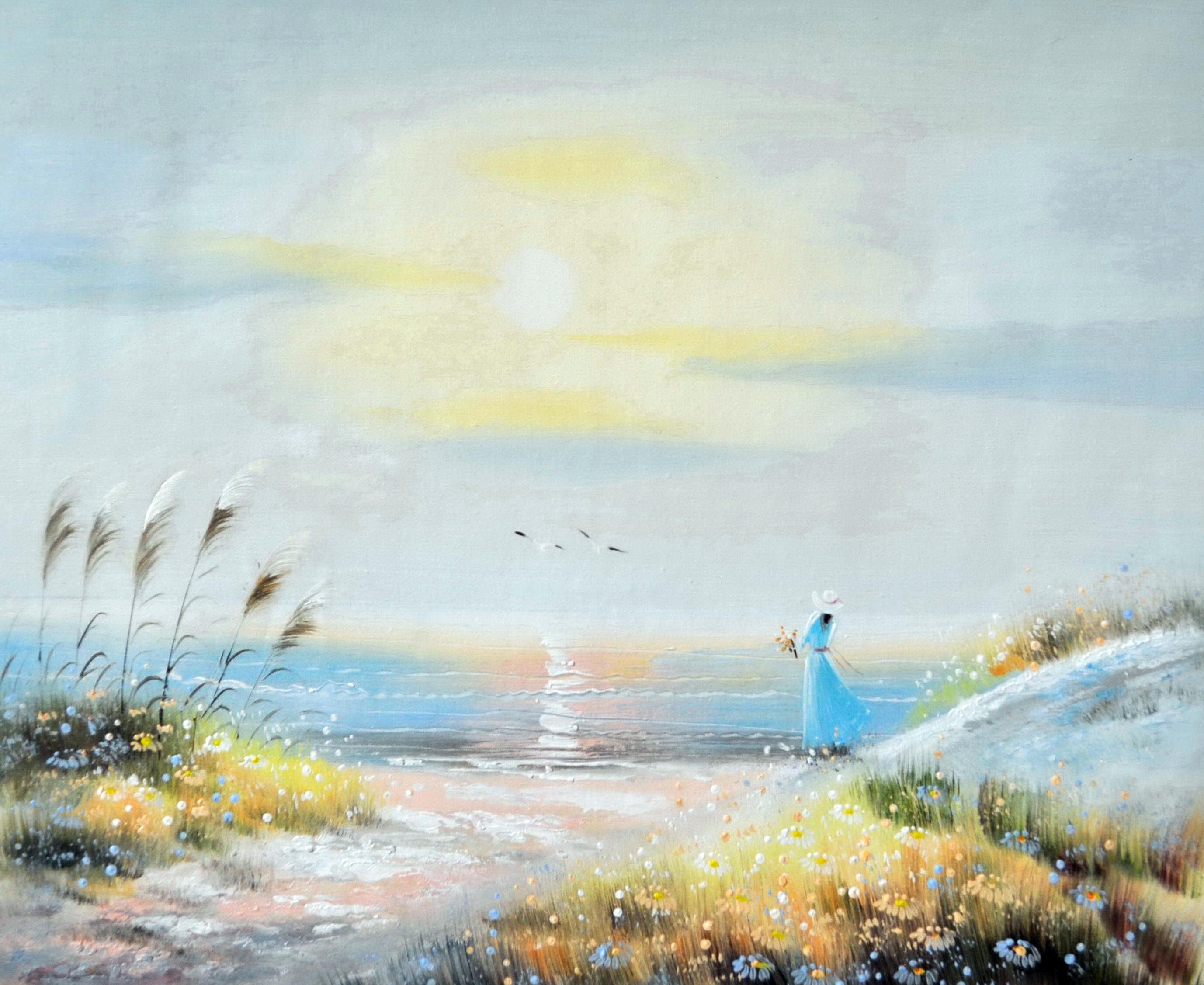 «Девушка у моря» картина 50х60 5р172