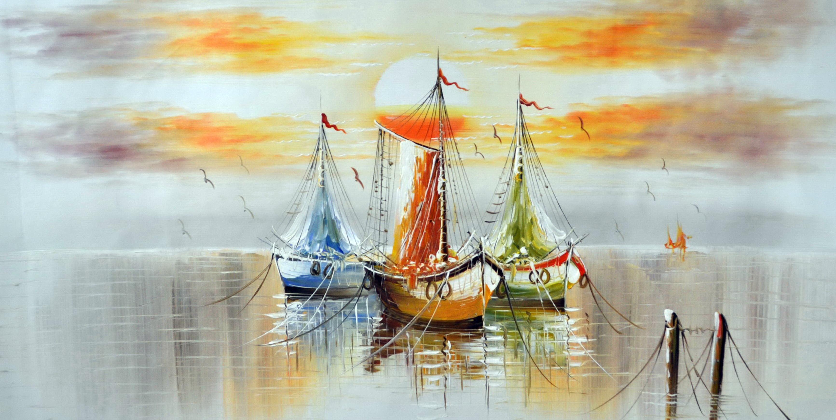 «Корабли» картина 60х120 б057
