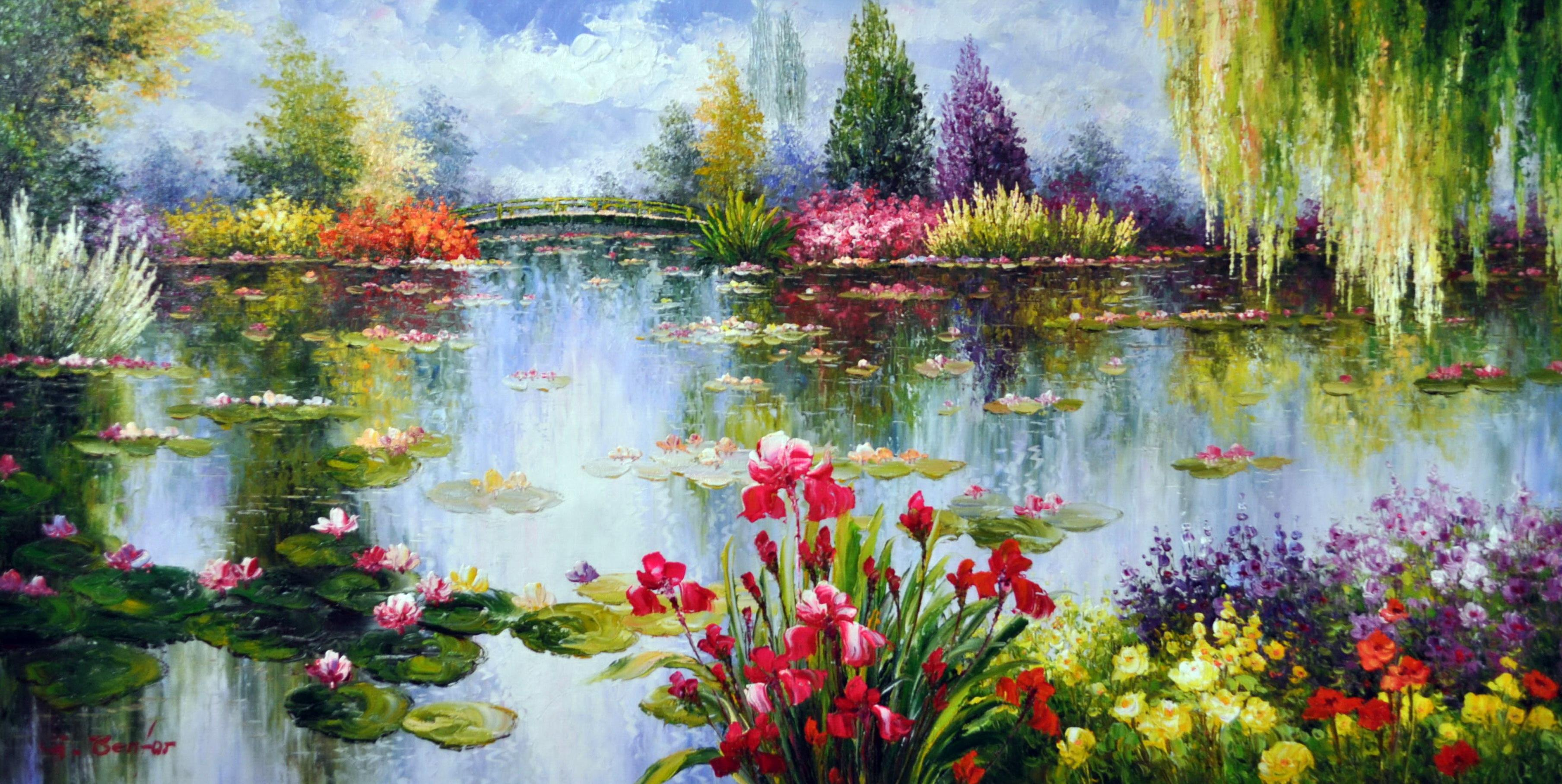 «Летний парк» картина 60х120 б059