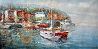 «Яхты в гавани» картина 60х120 б062
