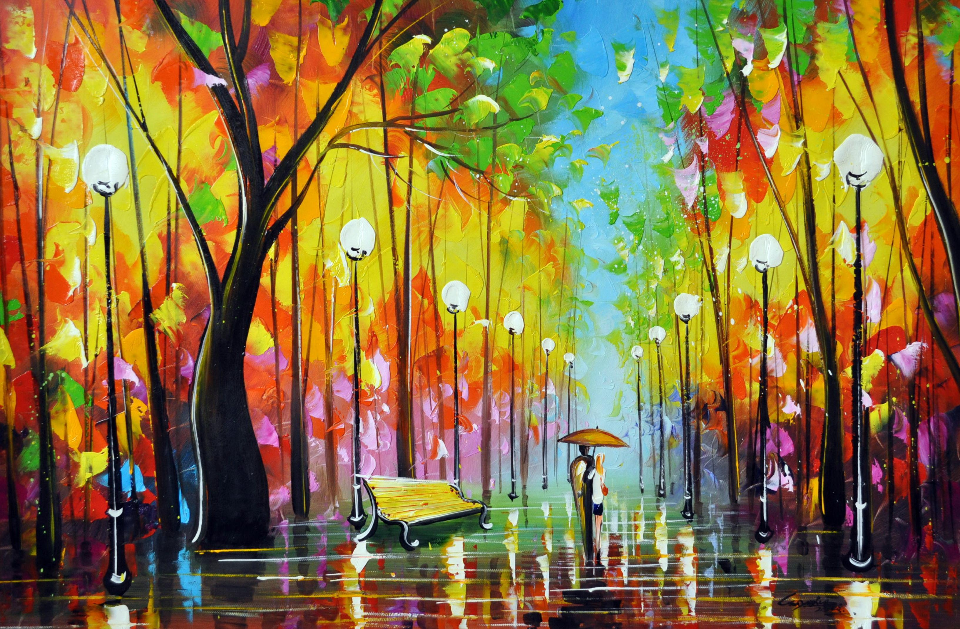 «Прогулка в парке» картина 60х90 9р015