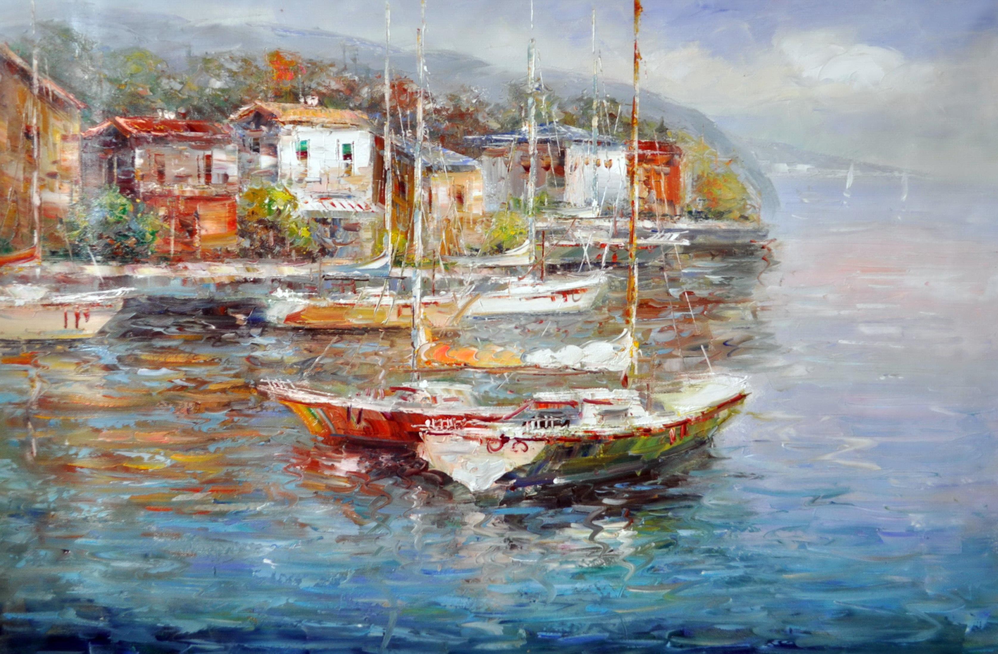 «Яхты в гавани» картина 60х90 9с020
