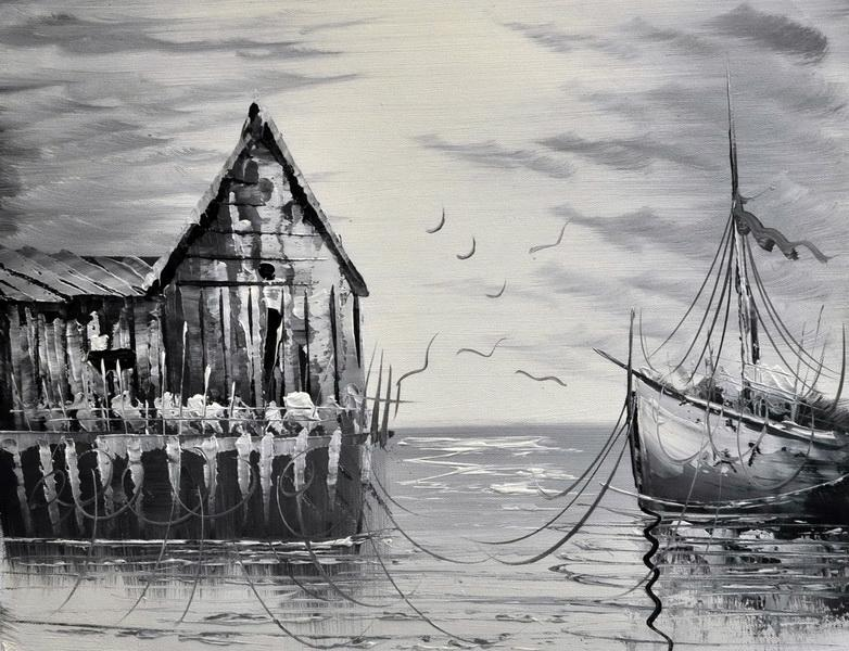 «На причале» картина 30х40 3м006