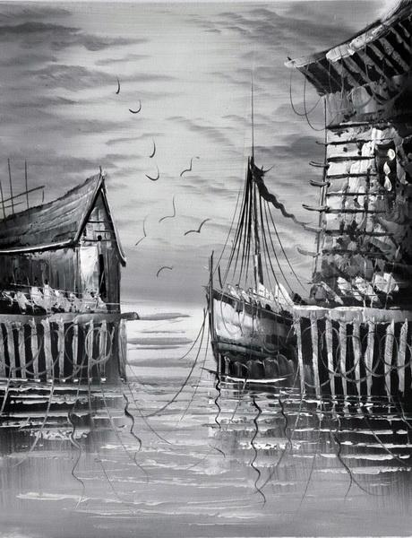 «На причале» картина 30х40 3м008