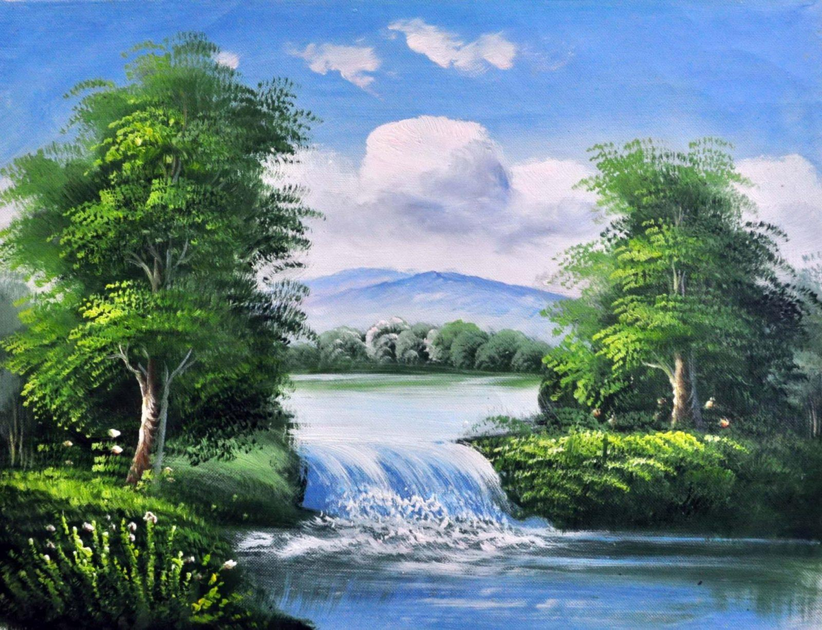 «Пейзаж с водопадом» картина 30х40 3п010