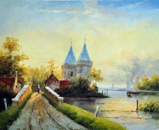 «Пейзаж с мостом» картина 50х60 5п180