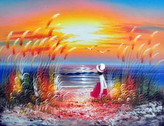 «Девушка у моря» картина 30х40 3р028