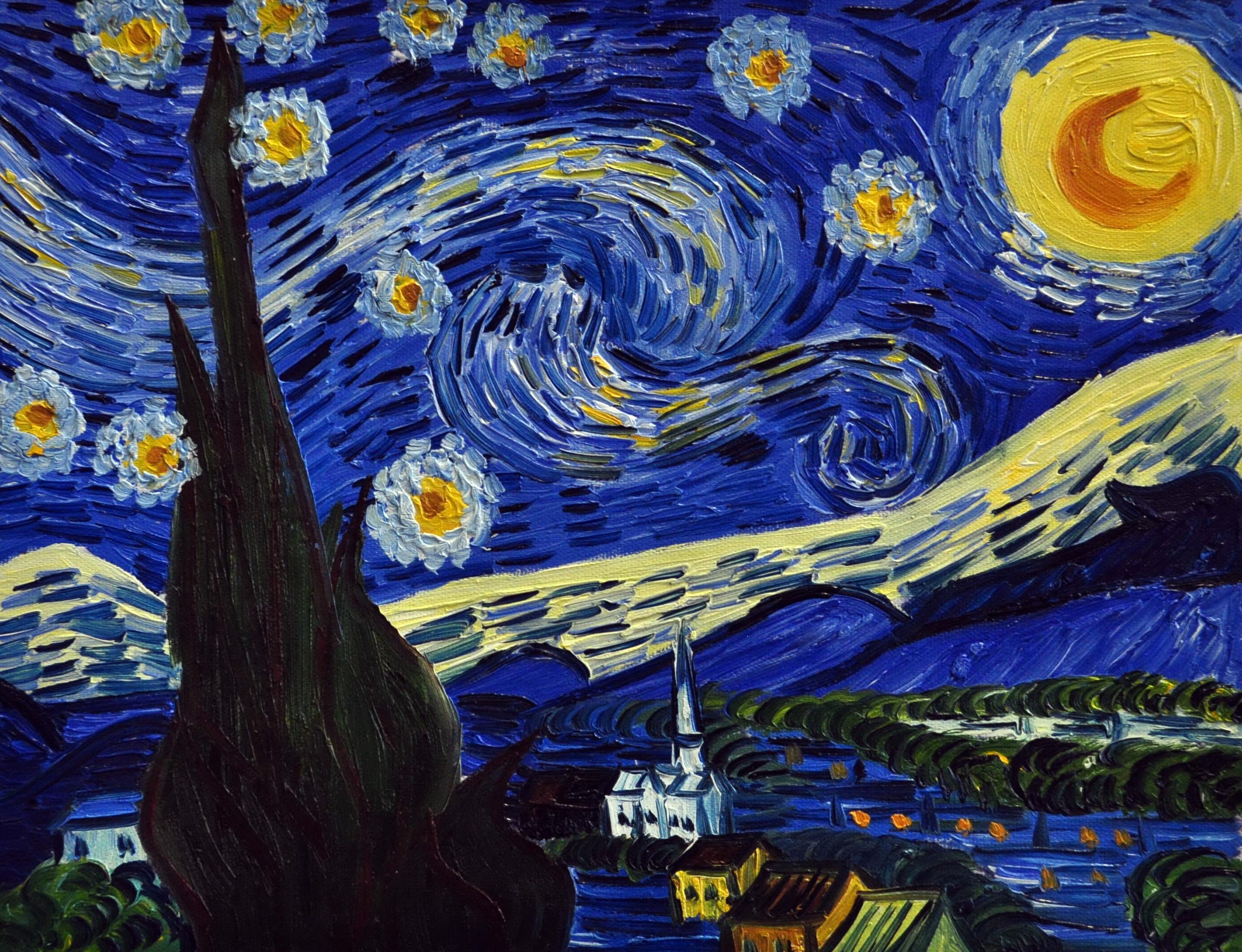 «Звездная ночь Ван Гога» картина 30х40 3р051