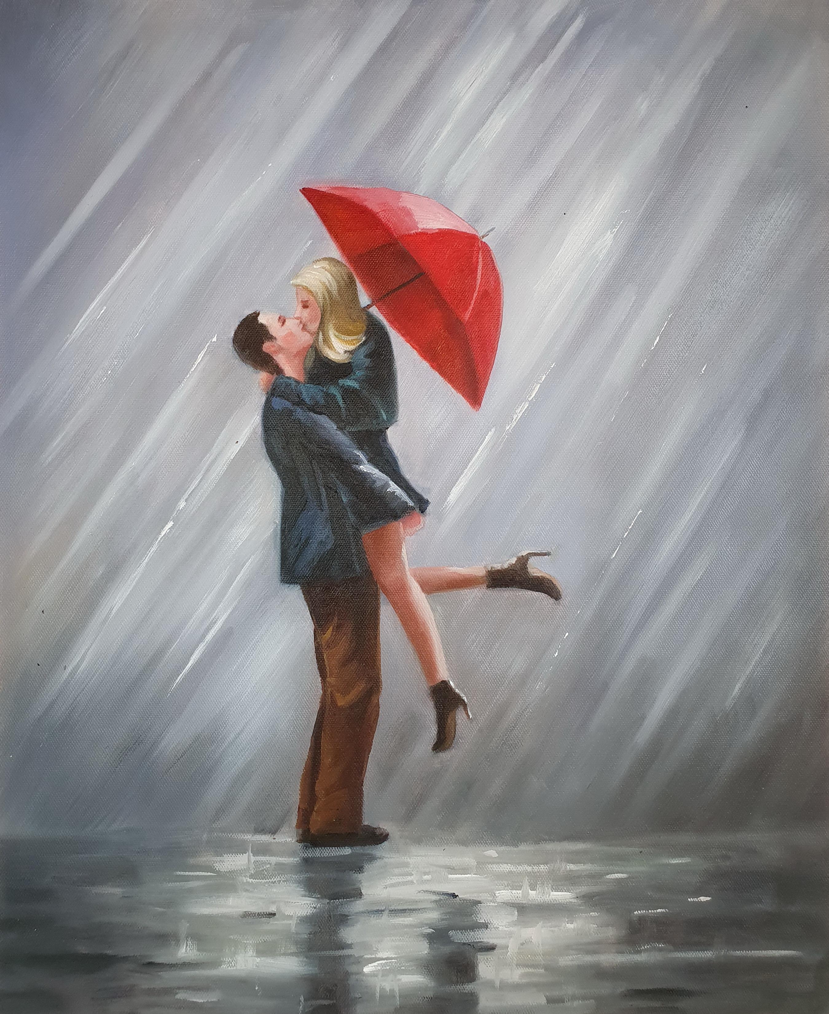«Влюблённые под дождём» картина 50х60 5р190