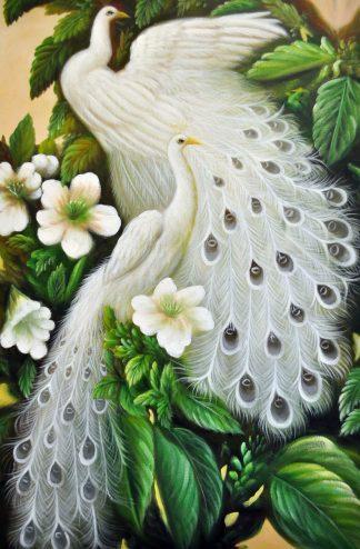«Белые павлины» картина 60х90 9а020